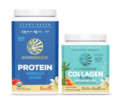 Sunwarrior - Warrior Blend - Organic Vegan Protein Powder (Vanilla, 30 Servings) + Sunwarrior - Vegan Collagen Building Protein Peptides - Tahitian Vanilla