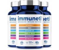 Immuneti - Advanced Immune Defense, 6-in-1 Powerful Blend of Vitamin C, Vitamin D3, Zinc, Elderberries, Garlic Bulb, Echinacea - Supports Overall Health, Provides Vital Nutrients & Antioxidants - 3 Pack