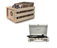 Crosley Cruiser Deluxe Record Player + Storage Crate Bundle
