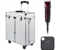 Andis Excel Pro-Animal 5-Speed Detachable Blade Clipper Kit - Professional Pet Grooming, Burgundy, SMC (65360) + Andis Aluminum Grooming Case with Wheels + Tile Pro (2020) - 1 Pack