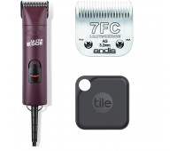 Andis UltraEdge Super 2-Speed Detachable Blade Clipper, Professional Animal/Dog Grooming, AGC2 - Burgundy + Andis UltraEdge Detachable Clipper Blade + Tile Pro (2020) - 1 Pack