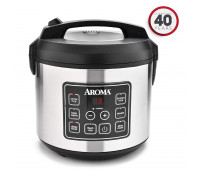 Aroma Professional 20 Cup Black & Stainless Digital Rice Cooker