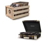 Crosley Executive Deluxe Portable Record Player + Storage Crate Bundle