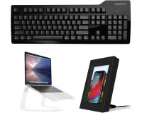 Das Keyboard Bundle With Model S Professional for Mac Mechanical Keyboard - Cherry MX Blue + Twelve South Curve + Twelve South PowerPic