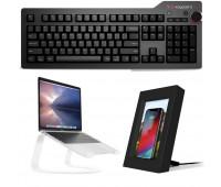 Das Keyboard Bundle With 4 Professional for Mac Mechanical Keyboard - Cherry MX Brown + Twelve South Curve + Twelve South PowerPic
