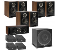 ELAC Debut Reference DB62 11.1 Channel Bookshelf Dolby Atmos Surround Sound Home Theater System with DA4.2 Atmos Speakers and Subwoofer SUB3010 - Black/Walnut