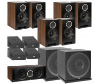 ELAC Debut Reference DB62 11.2 Channel Bookshelf Dolby Atmos Surround Sound Home Theater System with DA4.2 Atmos Speakers and Subwoofer SUB3010 - Black/Walnut