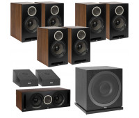 ELAC Debut Reference DB62 9.1 Channel Bookshelf Dolby Atmos Surround Sound Home Theater System with DA4.2 Atmos Speakers and Subwoofer SUB3010 - Black/Walnut