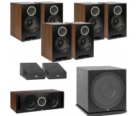 ELAC Debut Reference DB62 9.1 Channel Bookshelf Dolby Atmos Surround Sound Home Theater System with DA4.2 Atmos Speakers and Subwoofer SUB3030 - Black/Walnut