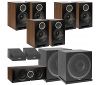 ELAC Debut Reference DB62 9.2 Channel Bookshelf Dolby Atmos Surround Sound Home Theater System with DA4.2 Atmos Speakers and Subwoofer SUB3010 - Black/Walnut