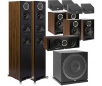 ELAC 11.1 Dolby Atmos Home Theater System Bundle With Debut Reference DFR52 - Pair + DCR52-BK + 4 DBR62 Bookshelf/Surrounds + SUB3010 Sub + 4 A4.2 Atmos Speakers - Black/Walnut