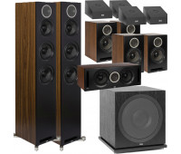 ELAC 11.1 Dolby Atmos Home Theater System Bundle With Debut Reference DFR52 - Pair + DCR52-BK + 4 DBR62 Bookshelf/Surrounds + SUB3030 Sub + 4 A4.2 Atmos Speakers - Black/Walnut