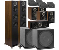 ELAC Debut Reference 11.2 Dolby Atmos Home Theater System Bundle With DFR52 - Pair + DCR52-BK + 4 DBR62 Bookshelf/Surrounds + 2 SUB3030 Sub + 4 A4.2 Atmos Speakers - Black/Walnut