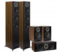 Debut Reference 5 Channel ELAC Home Theater System Bundle - DFR52 Floorstanding Speakers - Pair + DCR52-BK + DBR62-BK-Pair - Black/Walnut