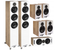 ELAC Debut Reference 7.0 Channel Home Theater System Bundle DFR52 Floorstanding Speaker - Pair - White/Oak With DCR52 Center Channel + 4 DBR62 Bookshelf/Surrounds