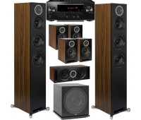 ELAC 7.1 Channel Home Theater System Bundle With Debut Reference DFR52 - Pair - Black/Walnut and  Pioneer Elite VSX-LX504 Receiver