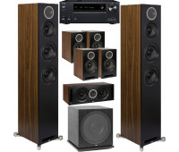 ELAC 7.1 Channel Home Theater System Bundle With Debut Reference DFR52 - Pair - Black/Walnut and Onkyo TX-NR696