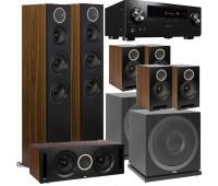 ELAC 7.2 Channel - Debut Reference Bundle + Pioneer Elite VSX-LX104 7.2-ch Network AV Receiver - DFR52 Floorstanding Speakers - Black/Walnut DCR52 + 4 DBR62 + 2 ELAC Subwoofers SUB3010