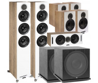 ELAC Debut Reference 7.2 Channel Home Theater System Bundle With DFR52 - Pair - White/Oak + DCR52 Center + 4 DBR62 Bookshelf/Surrounds + 2 ELAC Subwoofer SUB3030