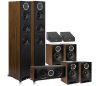ELAC Debut Reference 9.0 Channel Dolby Atmos Home Theater System Bundle - DFR52 Tower Speakers + DCR52 Center Channel + 4 DBR62 Bookshelf/Surrounds + 2 A4.2 Atmos Speakers- Black/Walnut