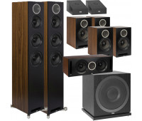 ELAC 9.1 Dolby Atmos Home Theater System Bundle With Debut Reference DFR52 - Pair + DCR52-BK + 4 DBR62 Bookshelf/Surrounds + SUB3010 Sub + 2 A4.2 Atmos Speakers - Black/Walnut