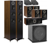 ELAC 9.1 Dolby Atmos Home Theater System Bundle With Debut Reference DFR52 - Pair + DCR52-BK + 4 DBR62 Bookshelf/Surrounds + SUB3030 Sub + 2 A4.2 Atmos Speakers - Black/Walnut