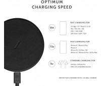 Native Union Classic Leather Wireless Charger – High-Speed [Qi Certified] 10W Handcrafted Italian Leather Charging pad – Compatible with iPhone 11/11 Pro/11 Pro Max/XS/XS Max/XR/X/8/8 Plus (Black)