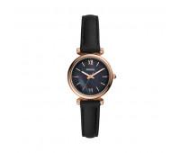 Fossil Women's Carlie Mini Three-Hand Black Leather Watch