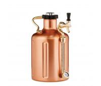 uKeg 128 Pressurized Growler for Craft Beer - Copper Plated