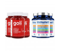 Goli Nutrition Apple Cider Vinegar Gummies, 180 ct + Immuneti - Advanced Immune Defense, 5-in-1 Powerful Vitamin Blend 180 ct, 3 Month Supply