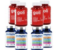 Goli Nutrition Apple Cider Vinegar Gummies, 240 ct + Immuneti - Advanced Immune Defense, 5-in-1 Powerful Vitamin Blend 240 ct, 4 Month Supply