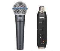 Shure BETA 58A Dynamic Vocal Microphone + X2U Microphone to USB Adapter Bundle