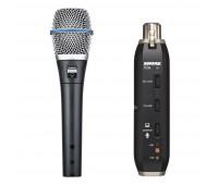 Shure BETA 87A Vocal Microphone + X2U Microphone to USB Adapter Bundle