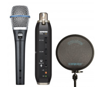 Shure bundle with BETA 87A Vocal Microphone + X2U Microphone to USB Adapter + PS-6 - Popper Stopper Windscreen