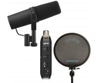 Shure SM7B Vocal Microphone + X2U Microphone to USB Adapter + PS-6 - Popper Stopper Windscreen Bundle