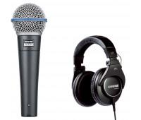 Shure BETA 58A Dynamic Vocal Microphone + SRH840 Professional Monitoring Headphones Bundle