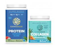 Sunwarrior - Warrior Blend - Organic Vegan Protein Powder (Natural, 30 Servings) + Sunwarrior - Vegan Collagen Building Protein Peptides - Natural