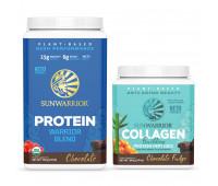 Sunwarrior - Warrior Blend - Organic Vegan Protein Powder (Chocolate, 30 Servings) + Sunwarrior - Vegan Collagen Building Protein Peptides - Chocolate Fudge
