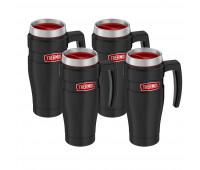 4 Thermos King, 16oz Stainless Steel Travel Mug, Matte Black