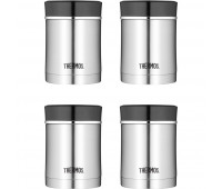 Thermos Stainless Steel Insulated Travel Food Jar With Lid, 16oz, Black - 4 Pack
