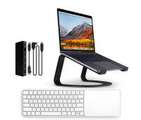 Twelve South bundle with MagicBridge Wireless Keyboard and Trackpad for Apple + Curve Laptop Stand for MacBook + StayGo USB-C Hub