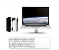 Twelve South bundle with MagicBridge Wireless Keyboard and Trackpad for Apple + HiRise Laptop Stand for MacBook + StayGo USB-C Hub