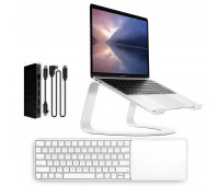 Twelve South bundle with MagicBridge Wireless Keyboard and Trackpad for Apple + Curve SE Laptop Stand For Macbook - White + StayGo USB-C Hub