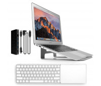 Twelve South bundle with MagicBridge Wireless Keyboard and Trackpad for Apple + ParcSlope Laptop Stand for MacBook - Silver + StayGo USB-C Hub