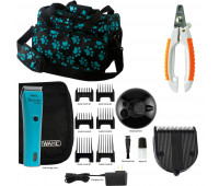 Wahl Professional Animal Bravura Pet, Dog, Cat, and Horse Corded / Cordless Clipper Kit, Turquoise + Wahl Professional Animal 5-in-1 Diamond Blade + Pet Nail Clipper + Wahl Professional Animal Travel and Tote Bag